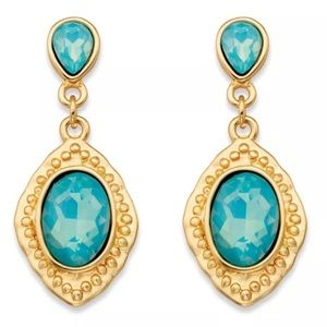 Oval-Cut Gold Tone Aquamarine Blue Glass Earrings